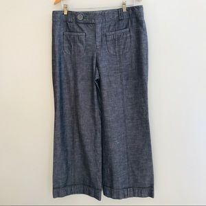 Anthropologie Wide Leg Chambray Pant